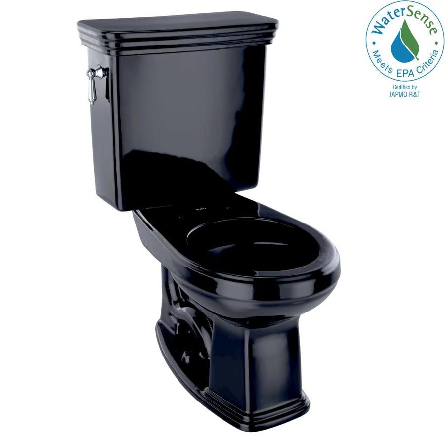TOTO Promenade Ebony 1.28-GPF (4.85-LPF) 12 Rough-In WaterSense Round 2-Piece Chair Height Toilet