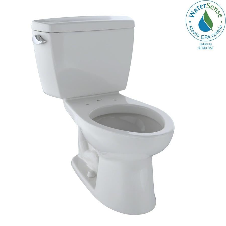 TOTO Eco Drake Colonial White 1.28-GPF (4.85-LPF) 12 Rough-In WaterSense Elongated 2-Piece Chair Height Toilet