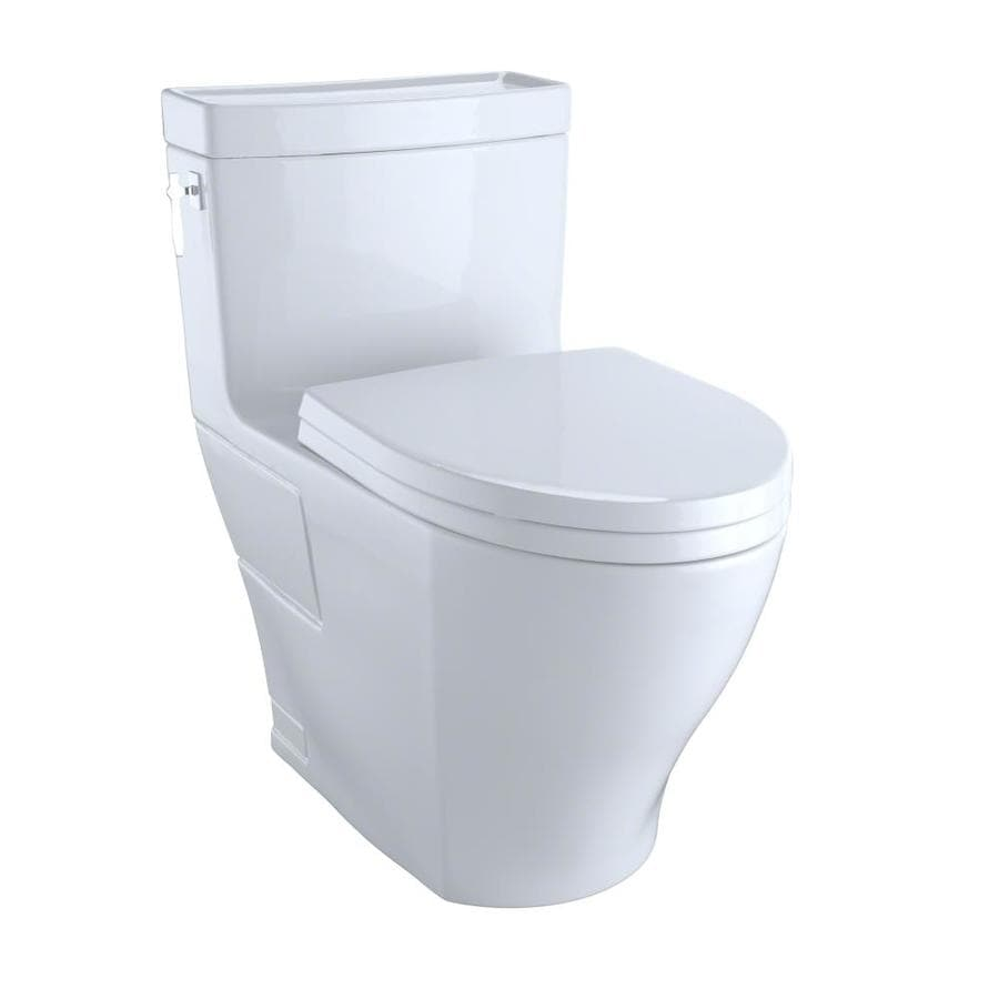 TOTO Aimes Cotton White 1.28-GPF (4.85-LPF) 12 Rough-In WaterSense Elongated 1-Piece Chair Height Toilet
