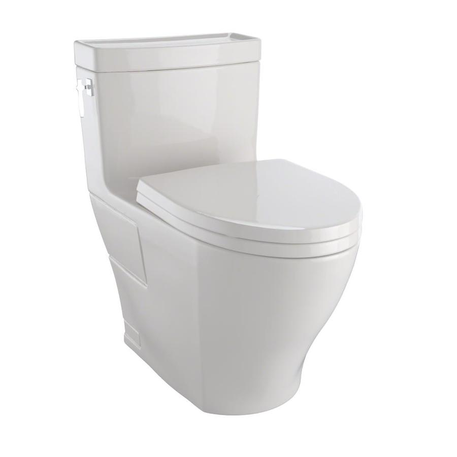 TOTO Aimes Sedona Beige 1.28-GPF (4.85-LPF) 12 Rough-In WaterSense Elongated 1-Piece Chair Height Toilet