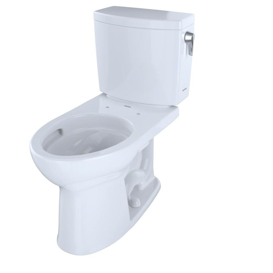TOTO Drake II Cotton White 1.0-GPF (3.79-LPF) 12 Rough-In WaterSense Elongated 2-Piece Chair Height Toilet
