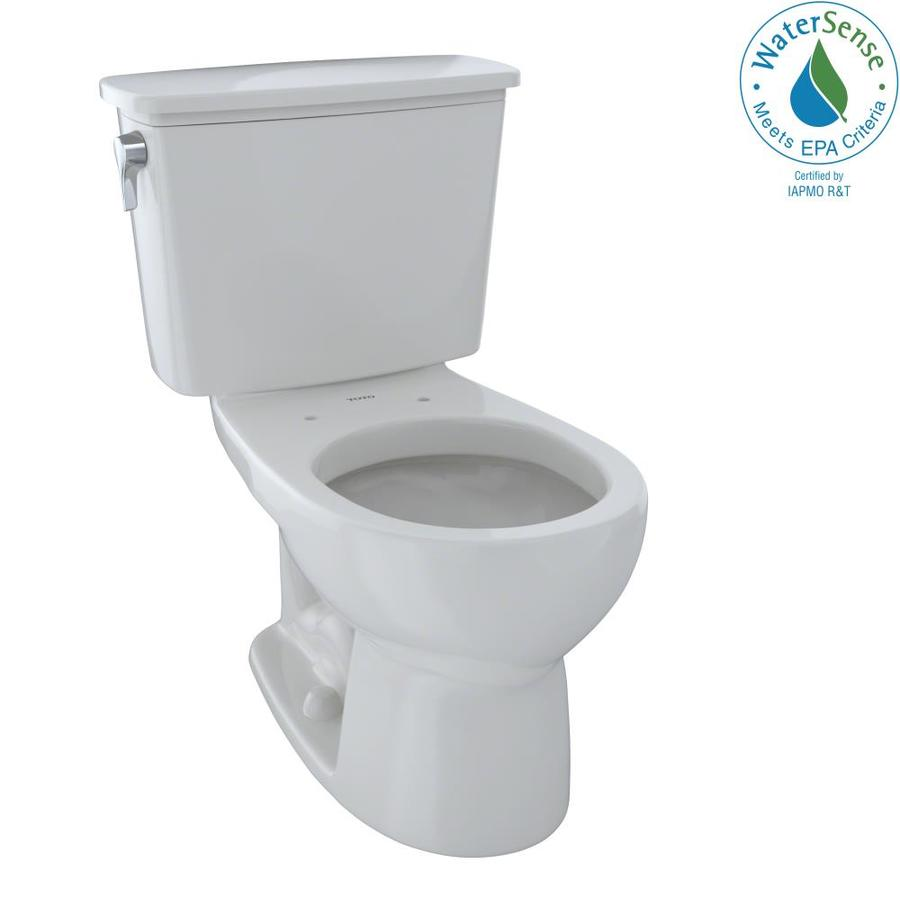 TOTO Eco Drake Colonial White 1.28-GPF (4.85-LPF) 12 Rough-In WaterSense Round 2-Piece Standard Height Toilet