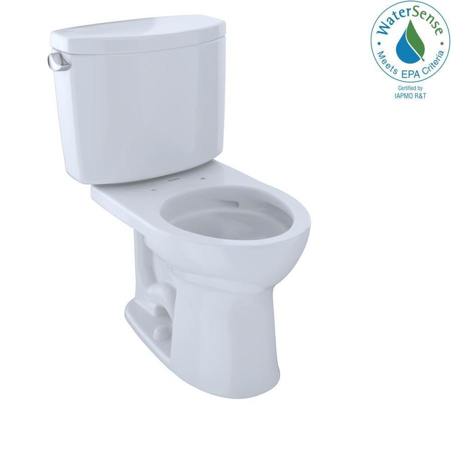 TOTO Drake II Cotton White 1.28-GPF (4.85-LPF) 12 Rough-In WaterSense Round 2-Piece Chair Height Toilet