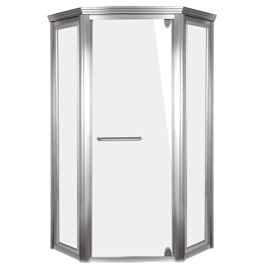 Shop Aqua Glass 42 In W X 72 In H Brushed Nickel Neo Angle Shower Door At