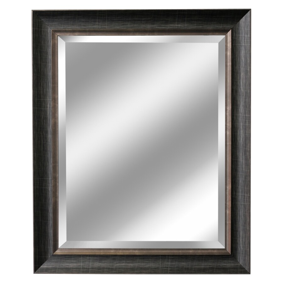 allen + roth 28.5-in x 34.5-in Brush Charcoal and Pewter Beveled Rectangle Framed French Wall Mirror