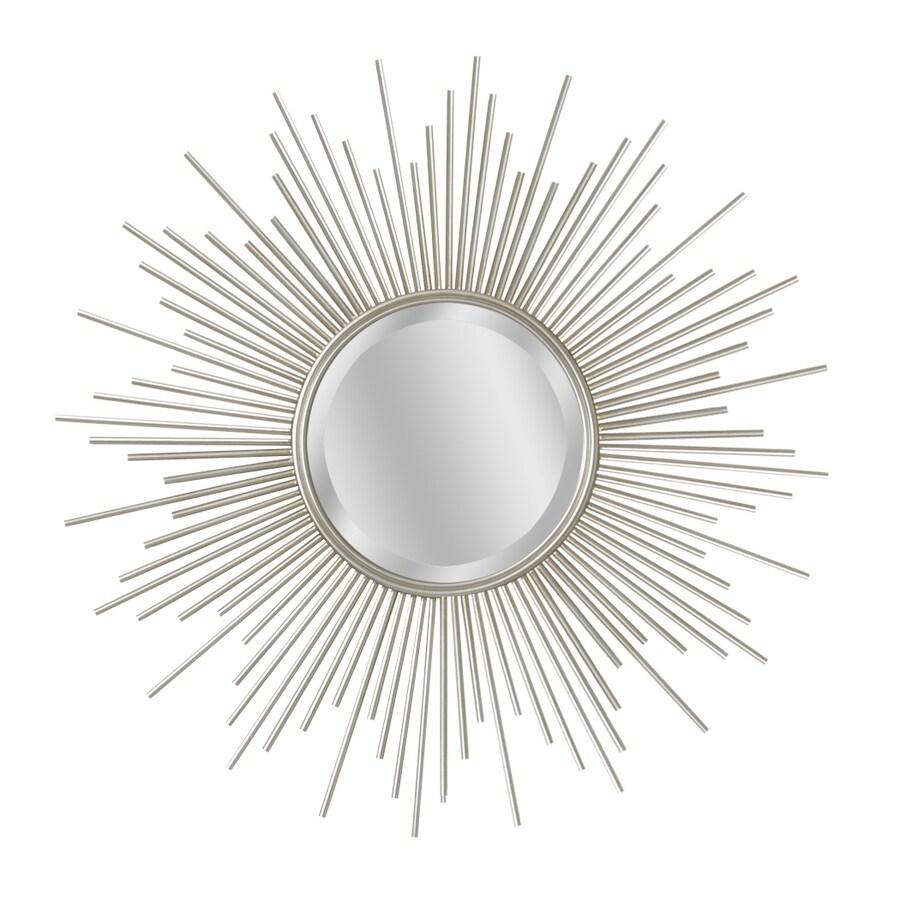 allen + roth Champagne Round Framed Wall Mirror