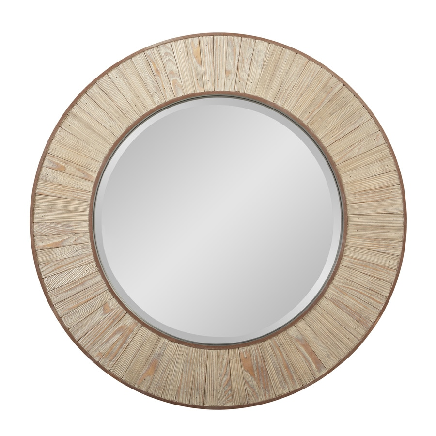 allen + roth Nature Wood Round Framed Wall Mirror