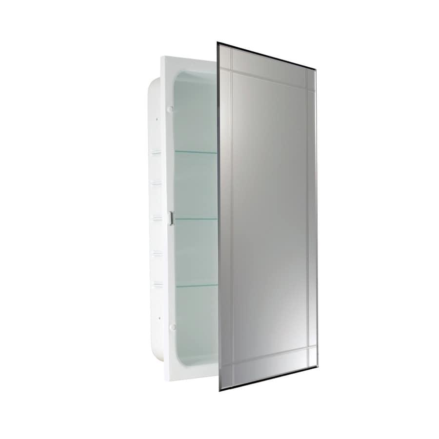 allen + roth 16-in x 26-in Rectangle Recessed Aluminum Medicine Cabinet