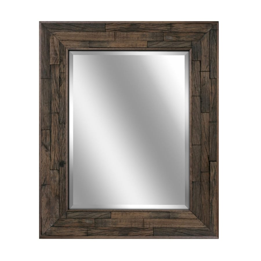 allen + roth 29-in x 35-in Natural Rectangle Framed Wall Mirror