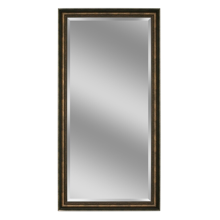allen + roth 34-in x 68-in Copper Beveled Rectangle Framed French Floor Mirror