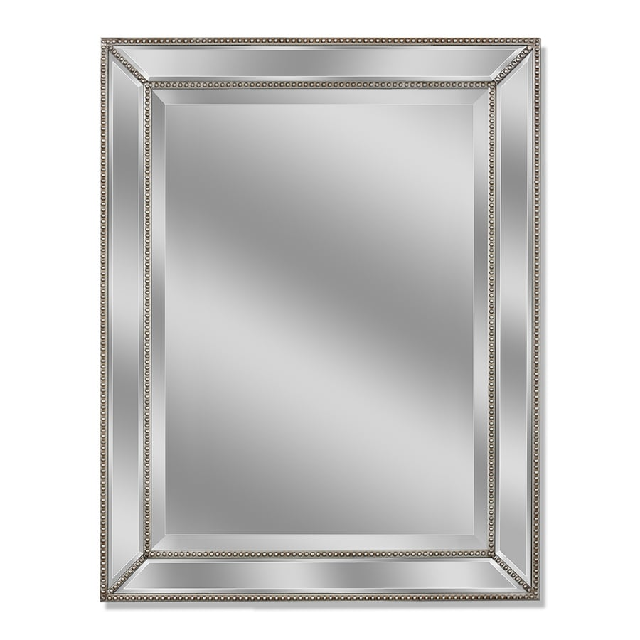 shop allen roth 30 in x 40 in silver beveled rectangle