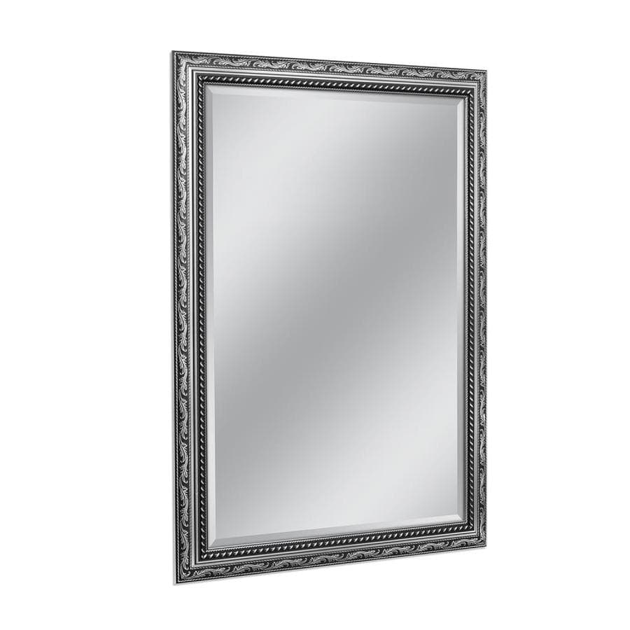 Style Selections 29-in x 41-in Silver Beveled Rectangle Framed French Wall Mirror