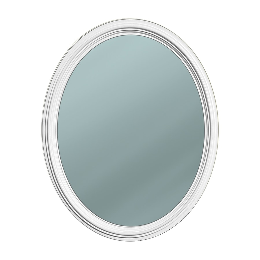 Style Selections 24.5-in x 30.5-in White Polished Oval Framed French Wall Mirror