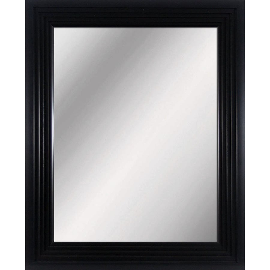 allen + roth Black Rectangle Framed Wall Mirror