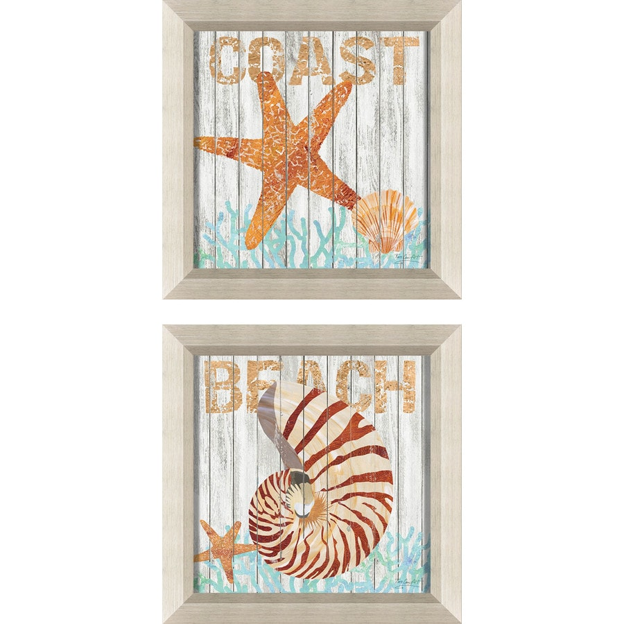 2-Piece 12-in W x 12-in H Framed Plastic Abstract Print Wall Art