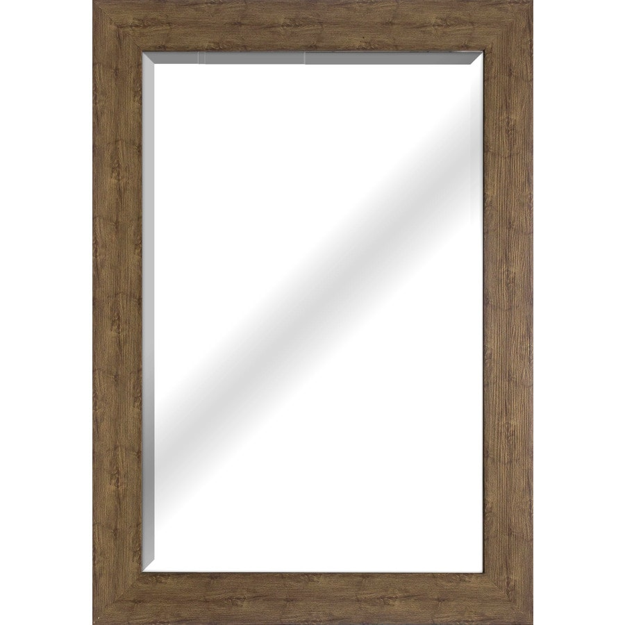 Style Selections 26-in x 32-in Wood Grain Beveled Rectangle Framed French Wall Mirror