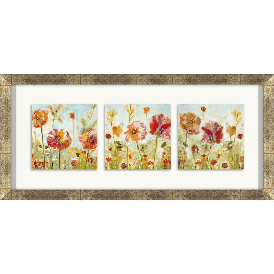 26-in W x 12-in H Framed Plastic Floral Prints Wall Art