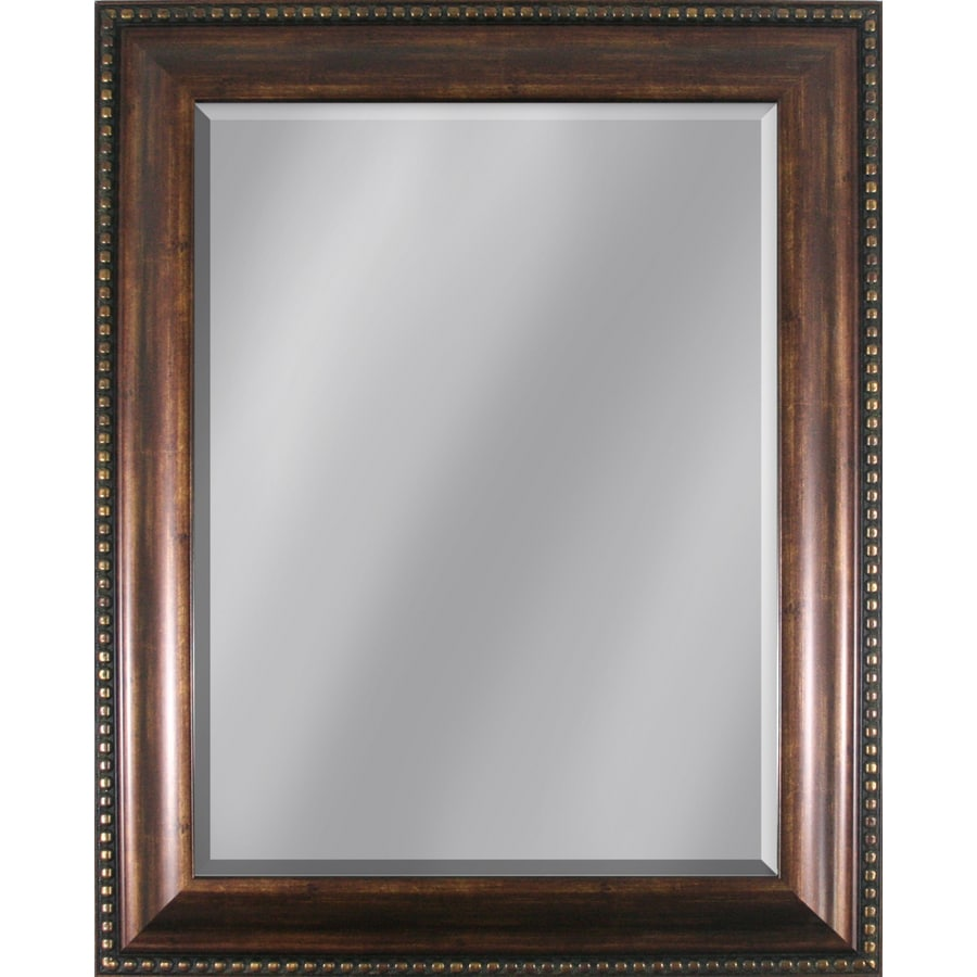 Style Selections 33.86-in x 27.95-in Copper Beveled Rectangle Framed Traditional Wall Mirror