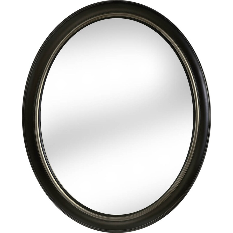 allen + roth 24-in x 30-in Oil Rubbed Bronze Polished Oval Framed Transitional Wall Mirror