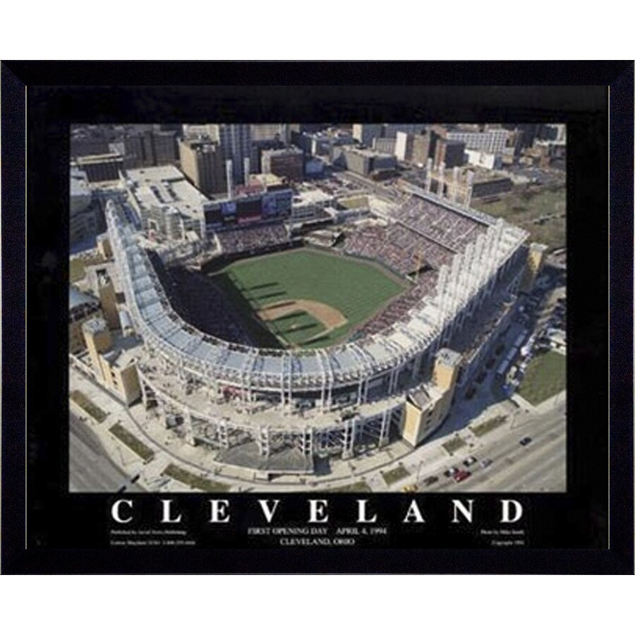 32-in W x 26-in H Cleveland Baseball Framed Art