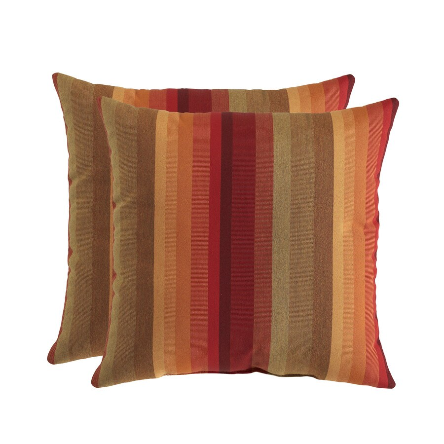 allen + roth Sunbrella 2-Pack Astoria Sunset Stripe Square Throw Outdoor Decorative Pillow