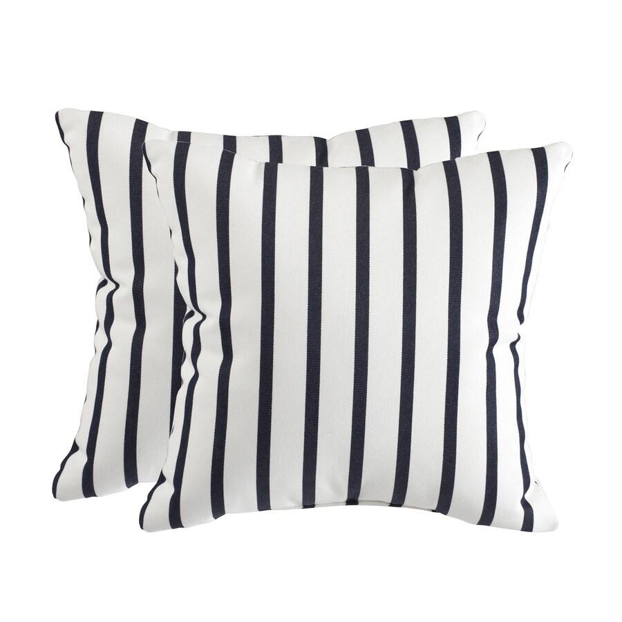 allen + roth Set of 2 Sunbrella Lido Indigo UV-Protected Square Outdoor Decorative Pillows