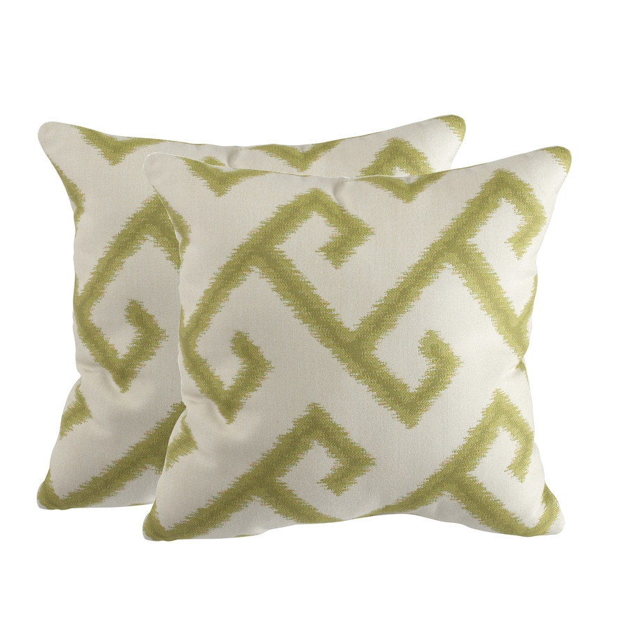 allen + roth Set of 2 Sunbrella El Greco Avocado UV-Protected Square Outdoor Decorative Pillows