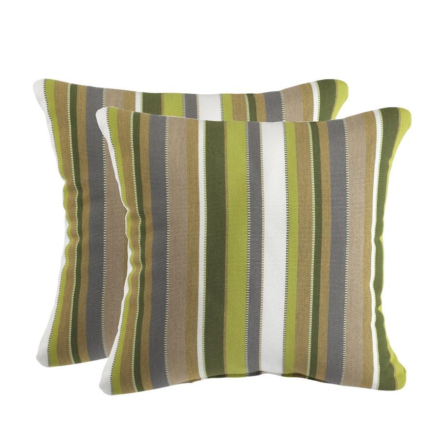 allen + roth Sunbrella 2-Pack Carousel Limelite Stripe Square Outdoor Decorative Pillow