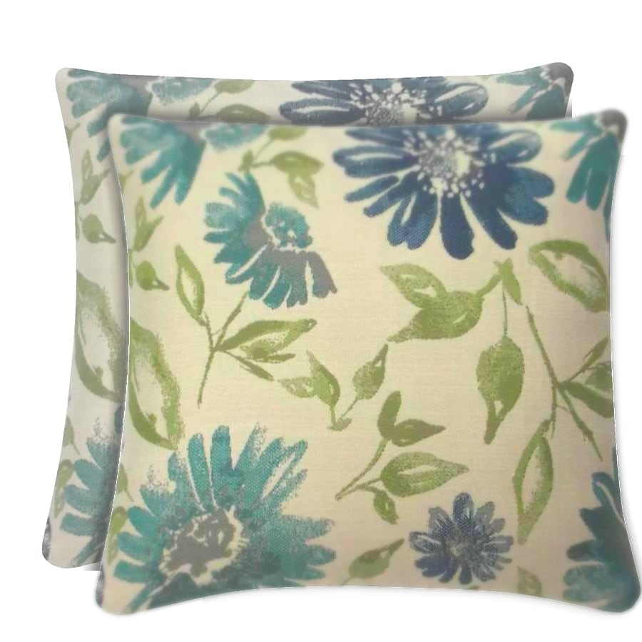 allen + roth Sunbrella 2-Pack Violetta Baltic Floral Square Outdoor Decorative Pillow