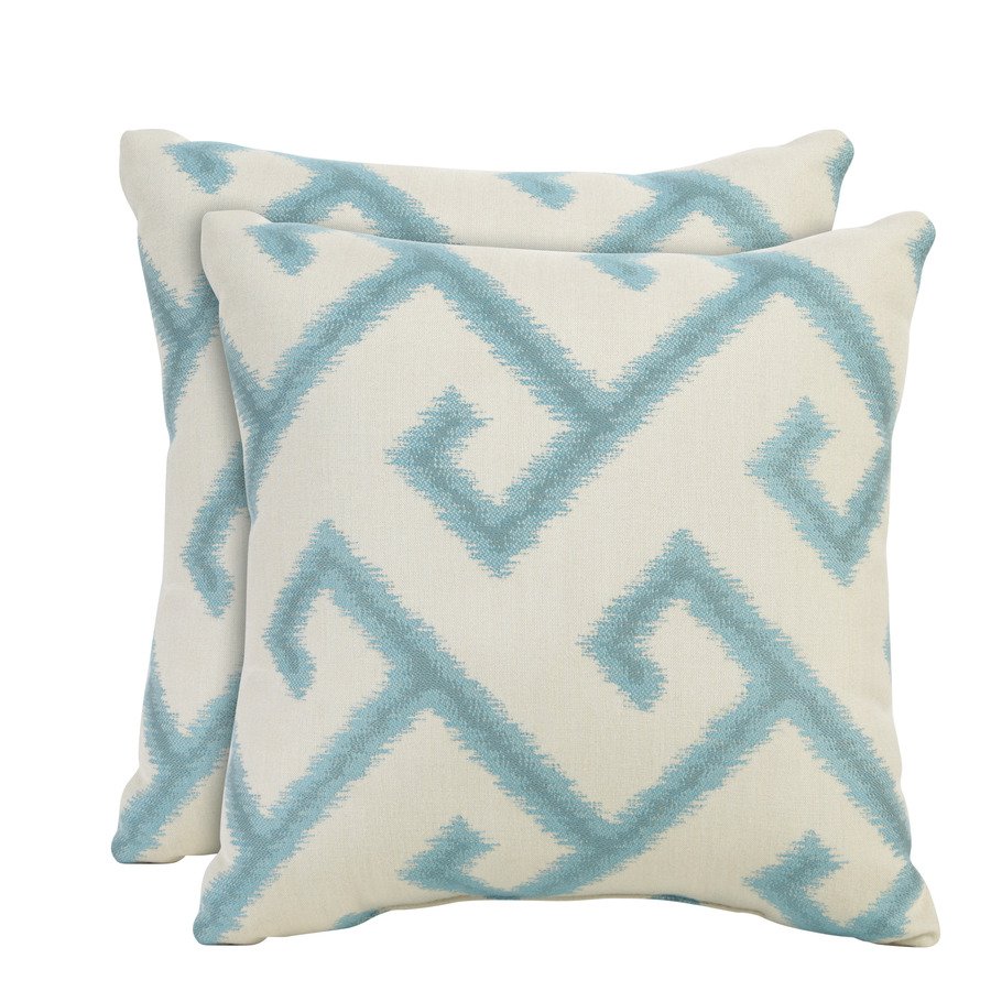 allen + roth Set of 2 Sunbrella El Greco Calypso UV-Protected Square Outdoor Decorative Pillows