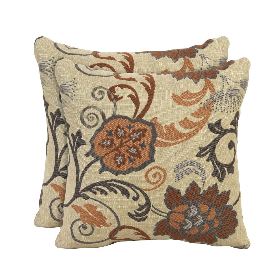 allen + roth Sunbrella Set Of 2-Pack Elegance Marble Floral Square Outdoor Decorative Pillow