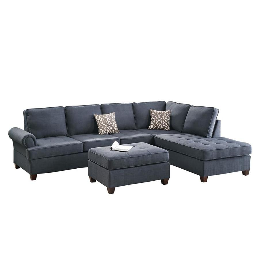 Poundex 3 Piece Azura Dark Blue Living Room Set In The Sets Department At Lowes Com