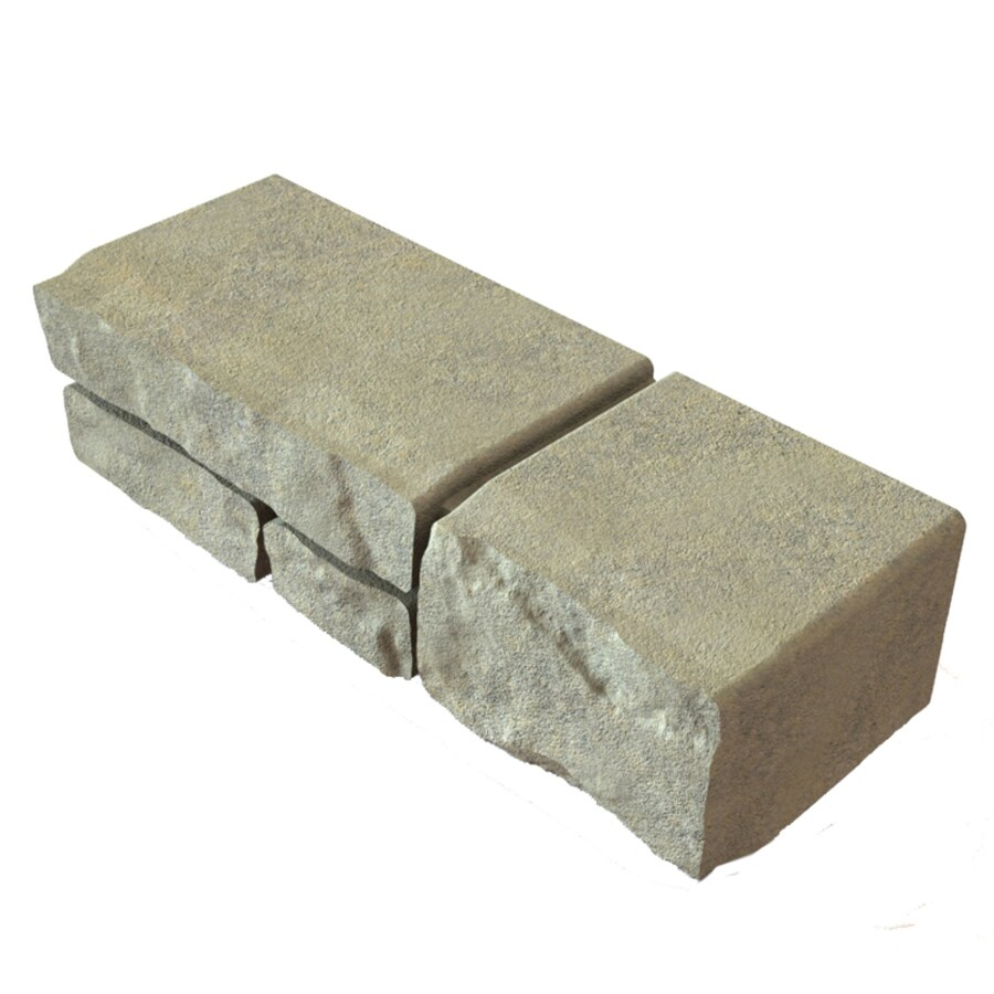 Tan Charcoal Rounded Fieldstone Texture Concrete Retaining Wall Block (Common: 16-in x 6-in; Actual: 16-in x 5.75-in)