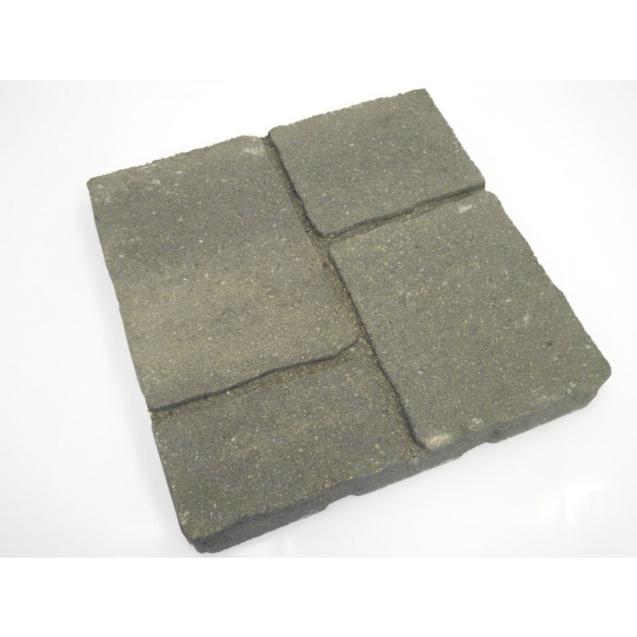 allen + roth Cassay 16-in x 16-in Gray Charcoal Four-Cobble Patio Stone (Actuals 15.75-in W x 15.75-in L)