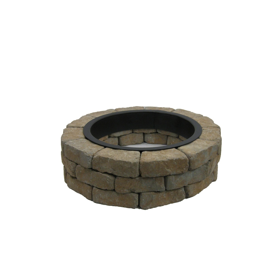 allen + roth Tan/Gray Flagstone Fire Pit Patio Block Project Kit