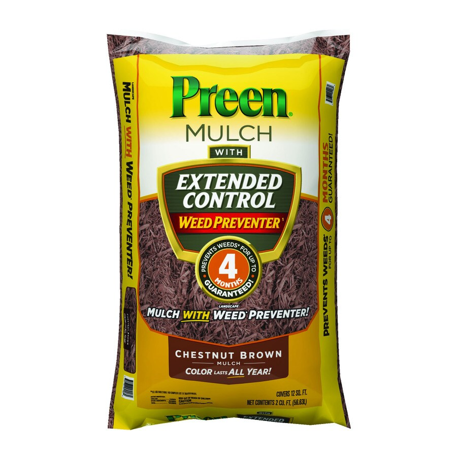 Preen 2-cu ft Dark Brown Pine Mulch