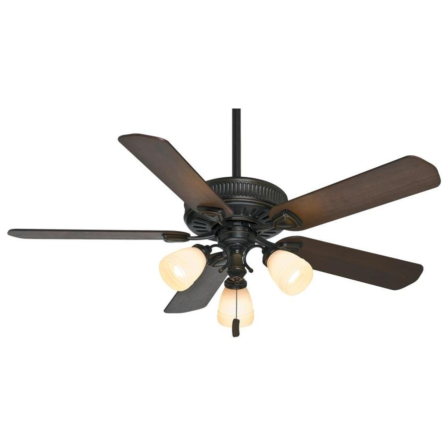 Casablanca Ainsworth Gallery 54-in Basque Black Downrod or Close Mount Indoor Residential Ceiling Fan with Light Kit