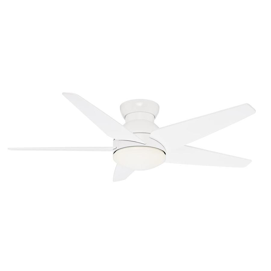 Casablanca Isotope 52-in Snow White Flush Mount Indoor Residential Ceiling Fan with Light Kit and Remote