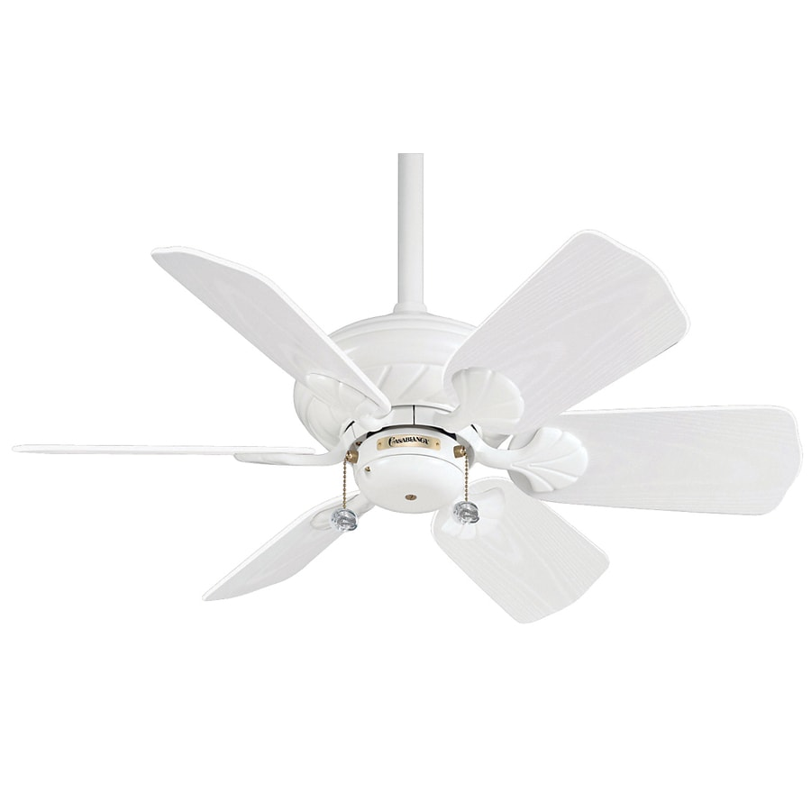 Casablanca Wailea 31-in Snow White Outdoor Downrod Mount Ceiling Fan (6-Blade)