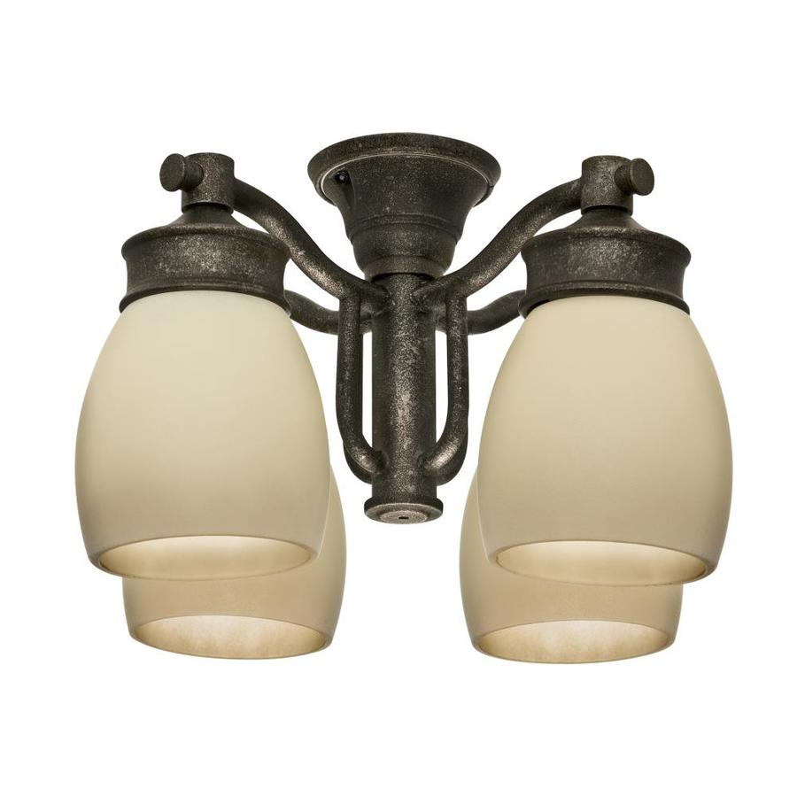 Casablanca 4-Light Aged Bronze Fluorescent Ceiling Fan Light Kit with Frosted Glass