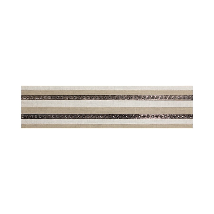 American Olean Infusion White/Beige Fabric Thru Body Porcelain Listello Tile (Common: 6-in x 24-in; Actual: 6-in x 24-in)