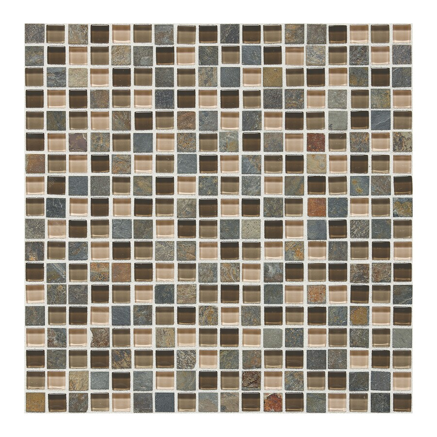 American Olean Delfino Glass Driftwood Uniform Squares Mosaic Stone and Glass Wall Tile (Common: 12-in x 12-in; Actual: 12-in x 12-in)