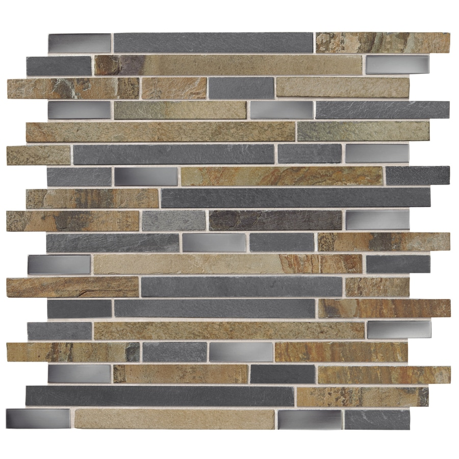 Kitchen Backsplash Tile At Lowes: Shop American Olean Delfino Glass Stainless Dream Mosaic