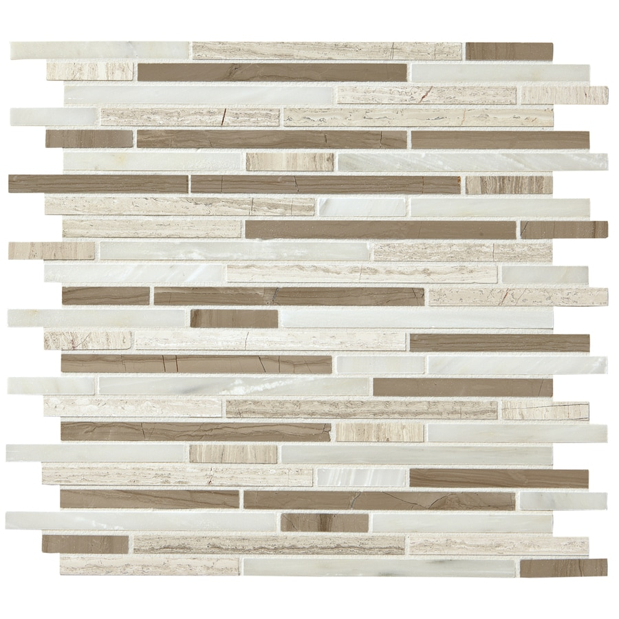 American Olean Delfino Stone Smokey Topaz Mosaic Stone and Glass Wall Tile (Common: 12-in x 12-in; Actual: 11.5-in x 13-in)
