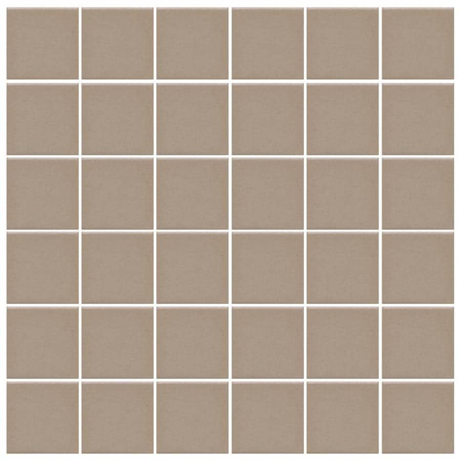 American Olean Unglazed Porcelain Mosaics 12-Pack Mushroom Uniform Squares Mosaic Thru Body Porcelain Floor and Wall Tile (Common: 12-in x 24-in; Actual: 11.93-in x 23.93-in)
