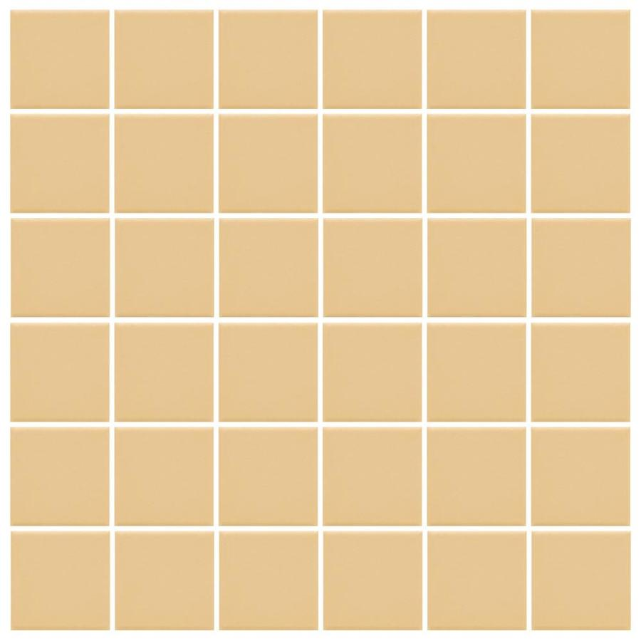 American Olean Unglazed Porcelain Mosaics 12-Pack Lemon Chiffon Uniform Squares Mosaic Thru Body Porcelain Floor and Wall Tile (Common: 12-in x 24-in; Actual: 11.93-in x 23.93-in)