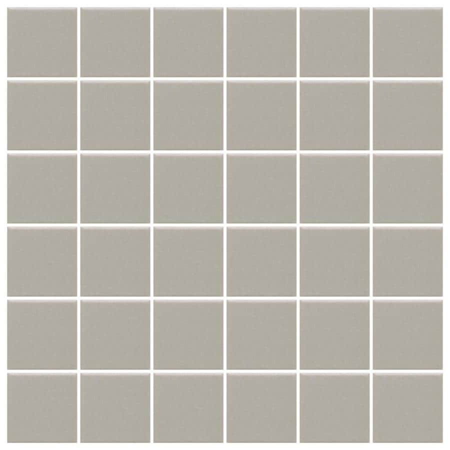American Olean Unglazed Porcelain Mosaics 12-Pack Light Smoke Uniform Squares Mosaic Thru Body Porcelain Floor and Wall Tile (Common: 12-in x 24-in; Actual: 11.93-in x 23.93-in)