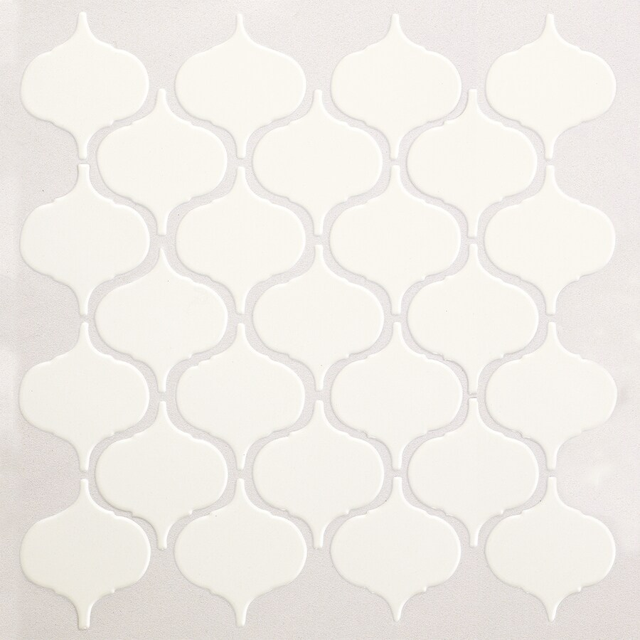 American Olean Vaughn Gloss White Lantern Mosaic Porcelain Wall Tile (Common: 10-in x 13-in; Actual: 10.87-in x 12.87-in)