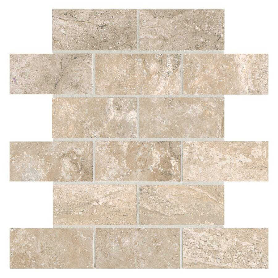 American Olean Laurel Heights 12-Pack Elevated Beige Brick Mosaic Ceramic Floor and Wall Tile (Common: 12-in x 12-in; Actual: 12-in x 12-in)
