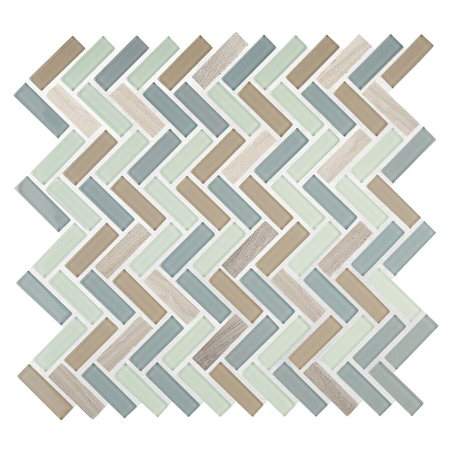 American Olean Royal Palm Linear Mosaic Stone and Glass Wall Tile (Common: 12-in x 12-in; Actual: 11.5-in x 12-in)